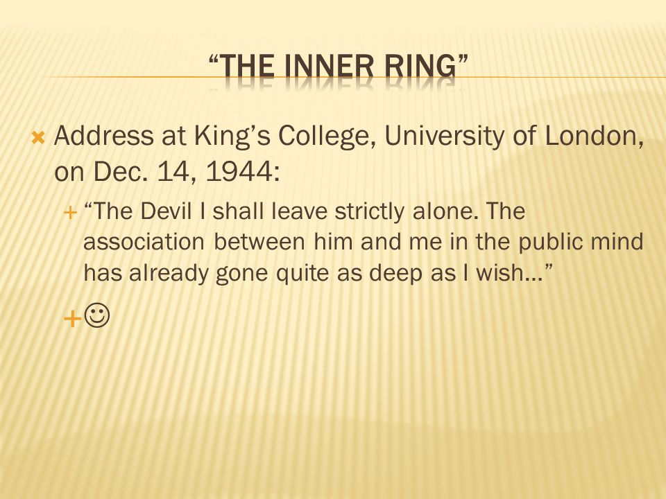  Address at King's College, University of London, on Dec.