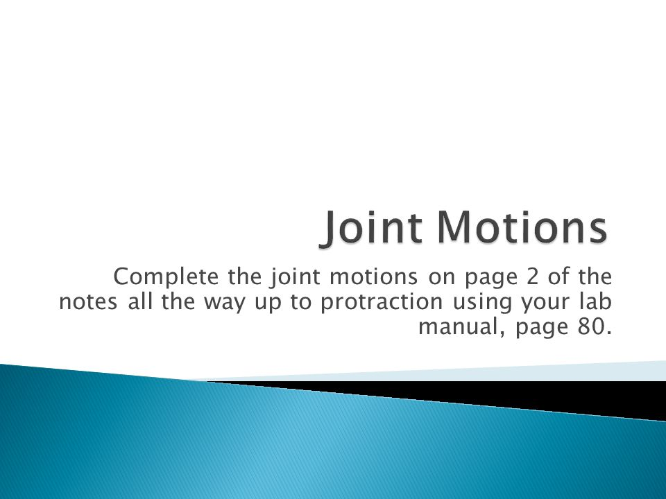 Complete the joint motions on page 2 of the notes all the way up to protraction using your lab manual, page 80.