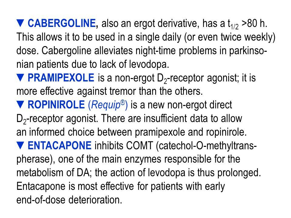 ▼BROMOCRIPTINE (t 1/2 5 h) – a derivative of ergot ( Ergot de savle, Secale cornutum ).