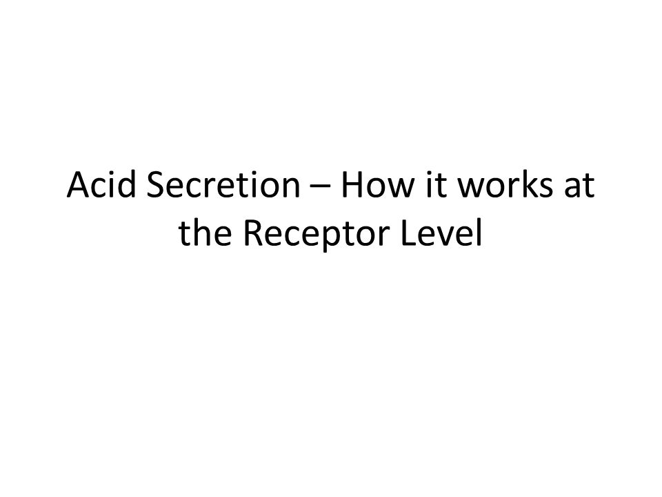 Acid Secretion – How it works at the Receptor Level