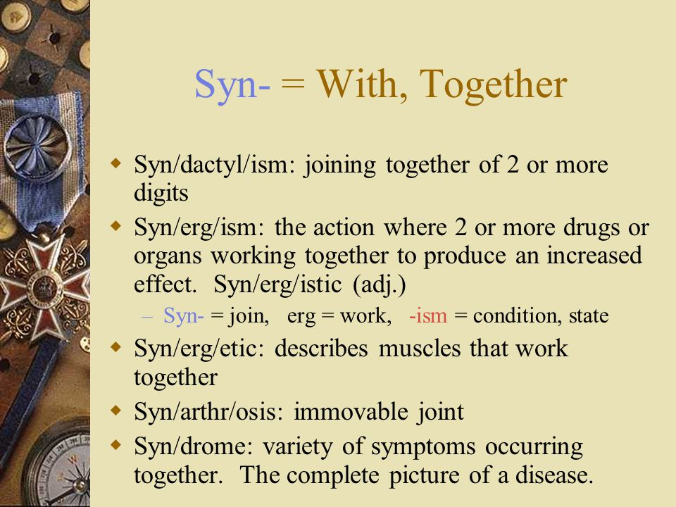 Syn- = With, Together  Syn/dactyl/ism: joining together of 2 or more digits  Syn/erg/ism: the action where 2 or more drugs or organs working togethe