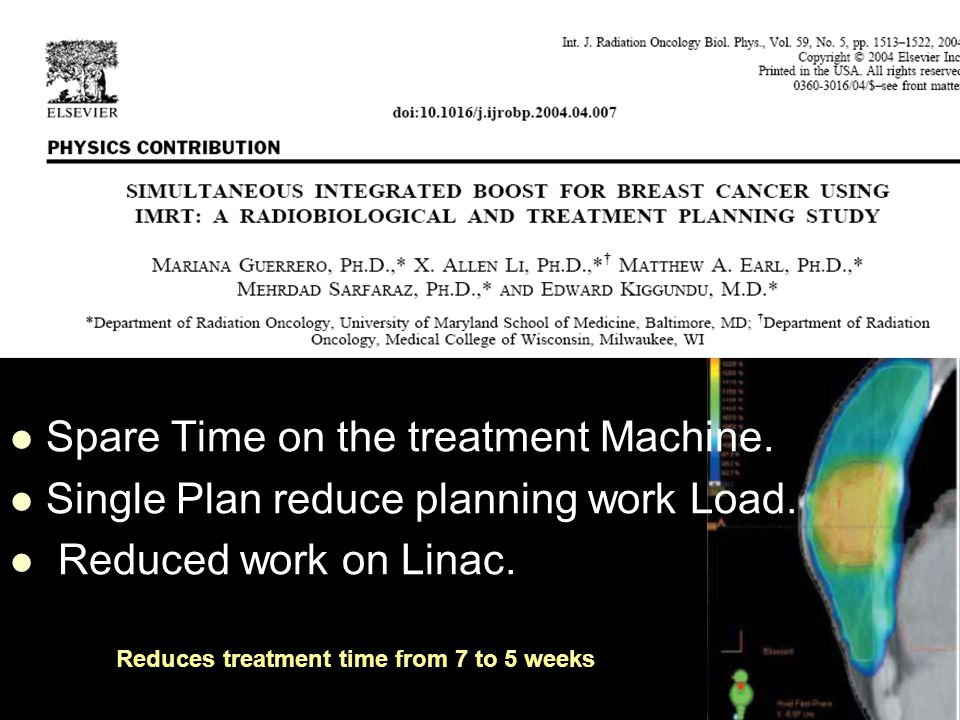 Spare Time on the treatment Machine. Single Plan reduce planning work Load.