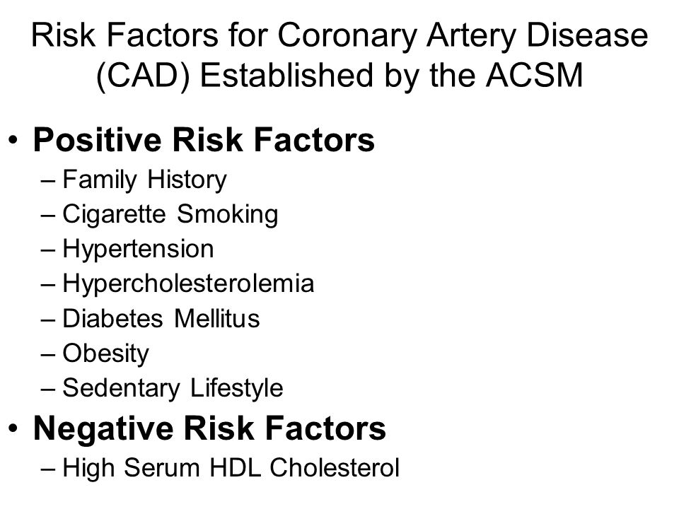 Risk Factors for Coronary Artery Disease (CAD) Established by the ACSM Positive Risk Factors –Family History –Cigarette Smoking –Hypertension –Hyperch
