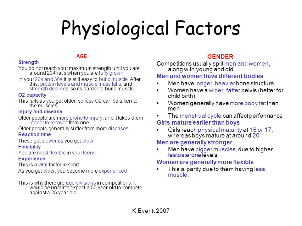 K Everitt 2007 Physiological Factors AGE Strength You do not reach your maximum strength until you are around 20-that's when you are fully grown In your 20s and 30s it is still easy to build muscle.