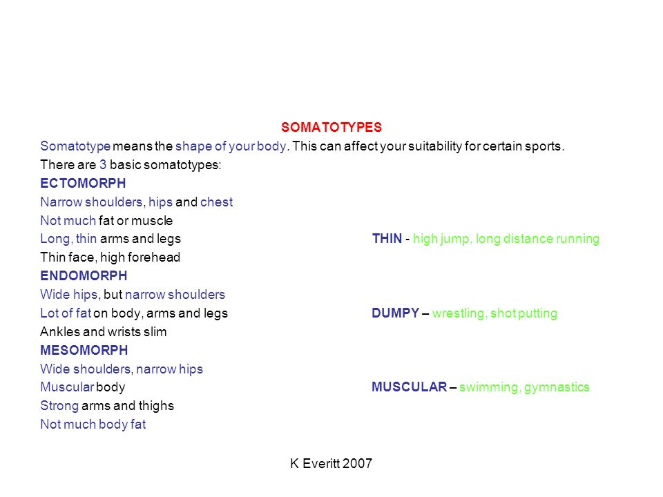 K Everitt 2007 SOMATOTYPES Somatotype means the shape of your body. This can affect your suitability for certain sports. There are 3 basic somatotypes