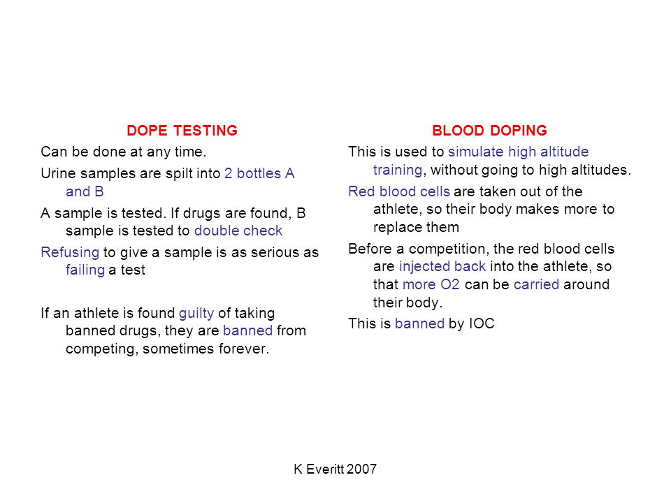 K Everitt 2007 DOPE TESTING Can be done at any time.
