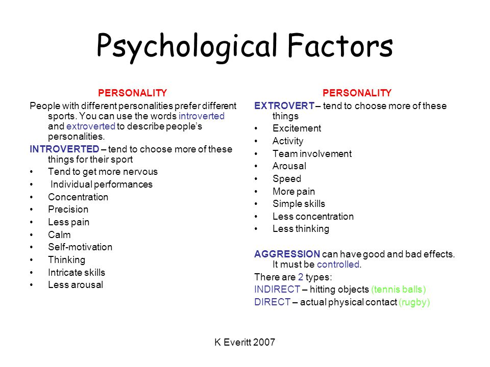 K Everitt 2007 Psychological Factors PERSONALITY People with different personalities prefer different sports.