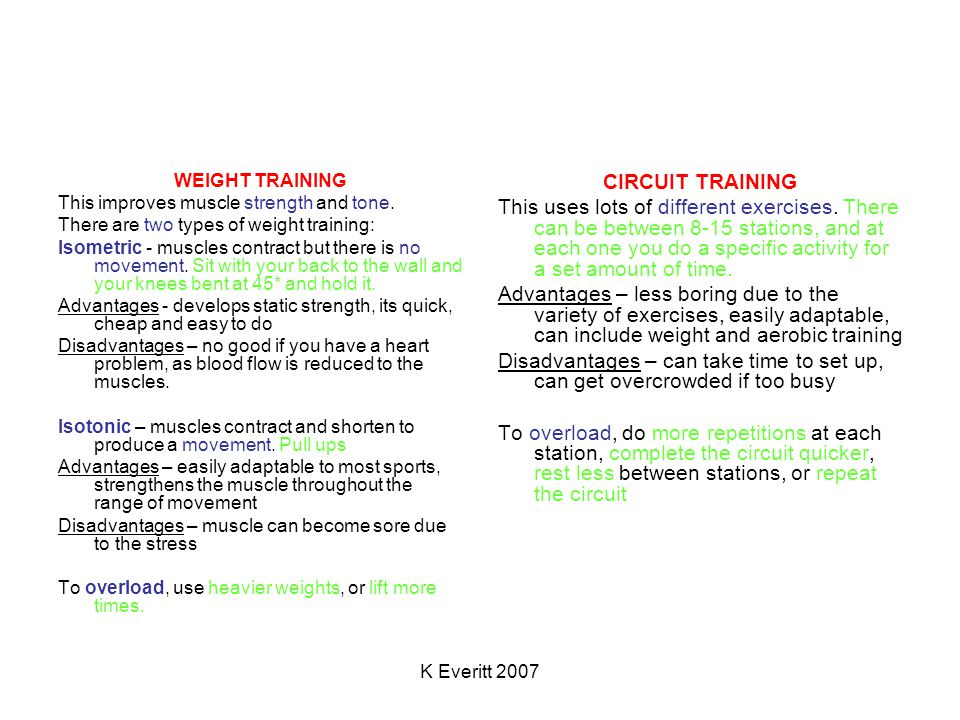 K Everitt 2007 WEIGHT TRAINING This improves muscle strength and tone.