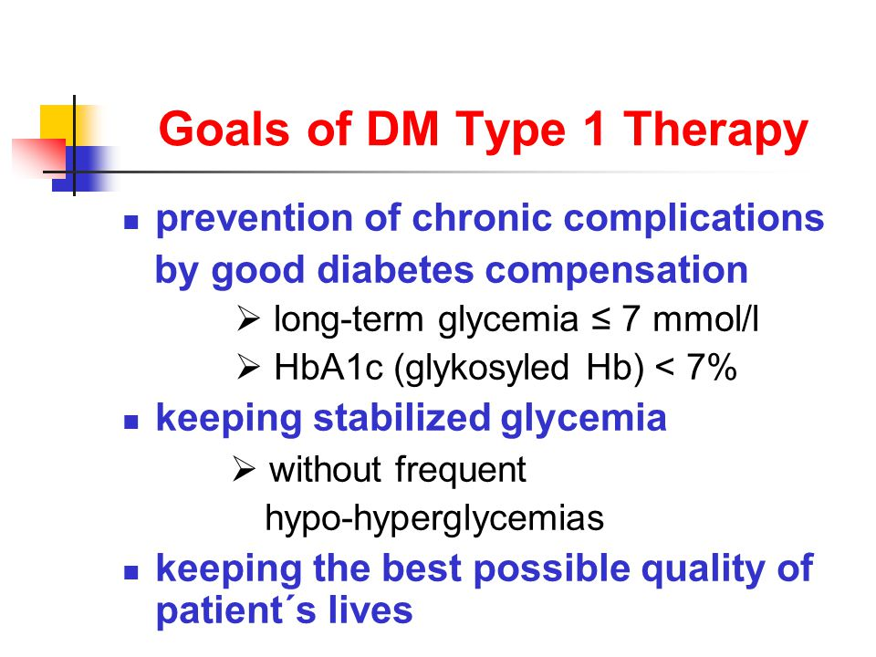 Goals of DM Type 1 Therapy prevention of chronic complications by good diabetes compensation  long-term glycemia ≤ 7 mmol/l  HbA1c (glykosyled Hb) < 7% keeping stabilized glycemia  without frequent hypo-hyperglycemias keeping the best possible quality of patient´s lives