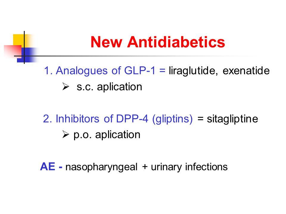 New Antidiabetics 1. Analogues of GLP-1 = liraglutide, exenatide  s.c.