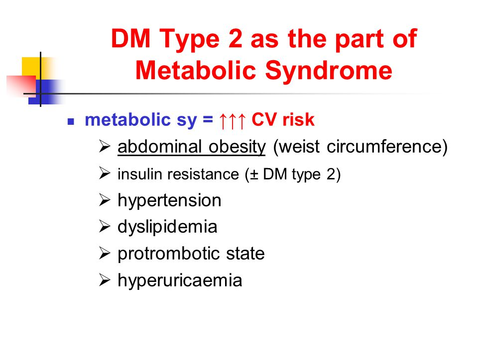 DM Type 2 as the part of Metabolic Syndrome metabolic sy = ↑↑↑ CV risk  abdominal obesity (weist circumference)  insulin resistance (± DM type 2)  hypertension  dyslipidemia  protrombotic state  hyperuricaemia