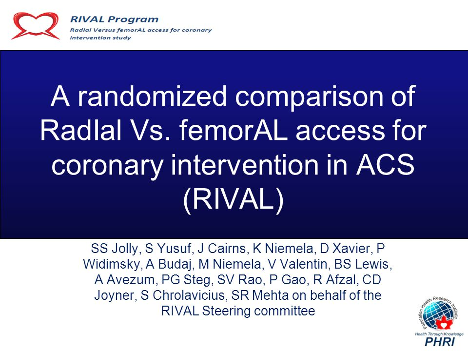 R I V A L Operator Volume Procedure Characteristics Radial (n=3507) Femoral (n=3514) HR (95% CI) P value Operator Annual Volume PCI/year (median, IQR) 300 (190, 400) Percent Radial PCI ( median, IQR) 40 (25,70) PCI Success95.495.21.01 (0.95-1.07)0.83 Vascular closure devices used in 26% of Femoral group