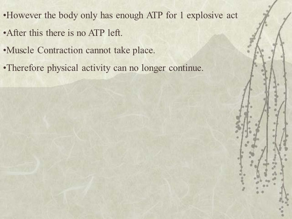 However the body only has enough ATP for 1 explosive act After this there is no ATP left. Muscle Contraction cannot take place. Therefore physical act