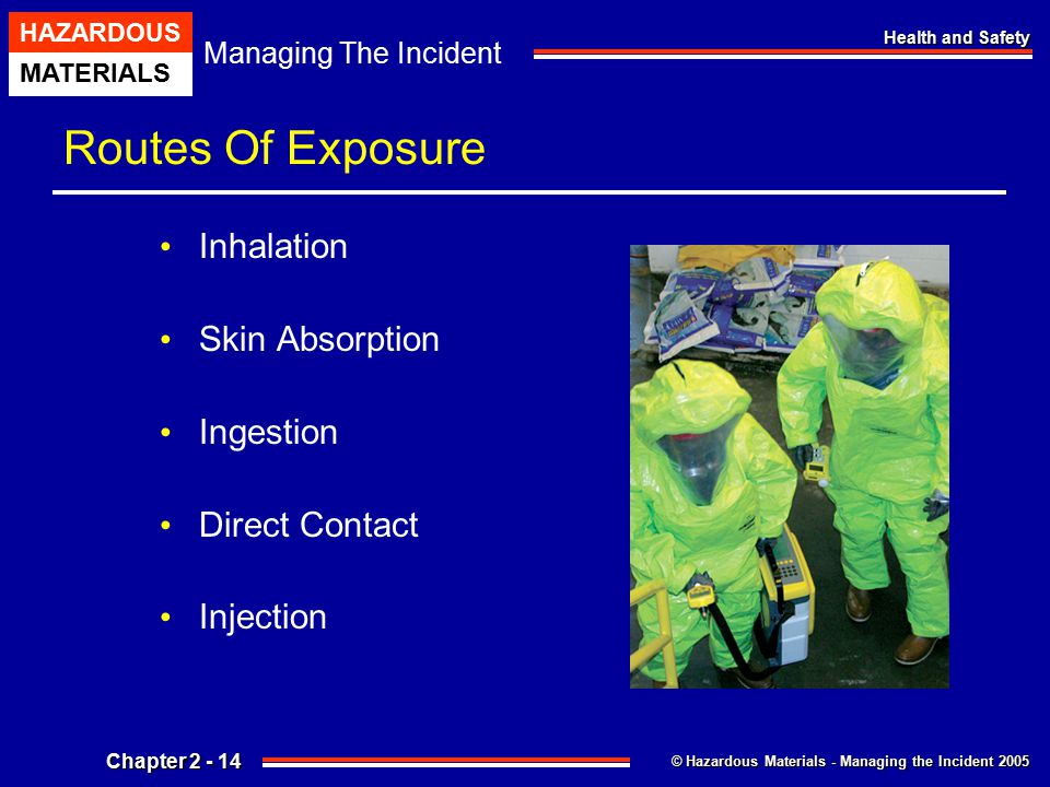 © Hazardous Materials - Managing the Incident 2005 Managing The Incident HAZARDOUS MATERIALS Chapter 2 - 14 Health and Safety Routes Of Exposure Inhal