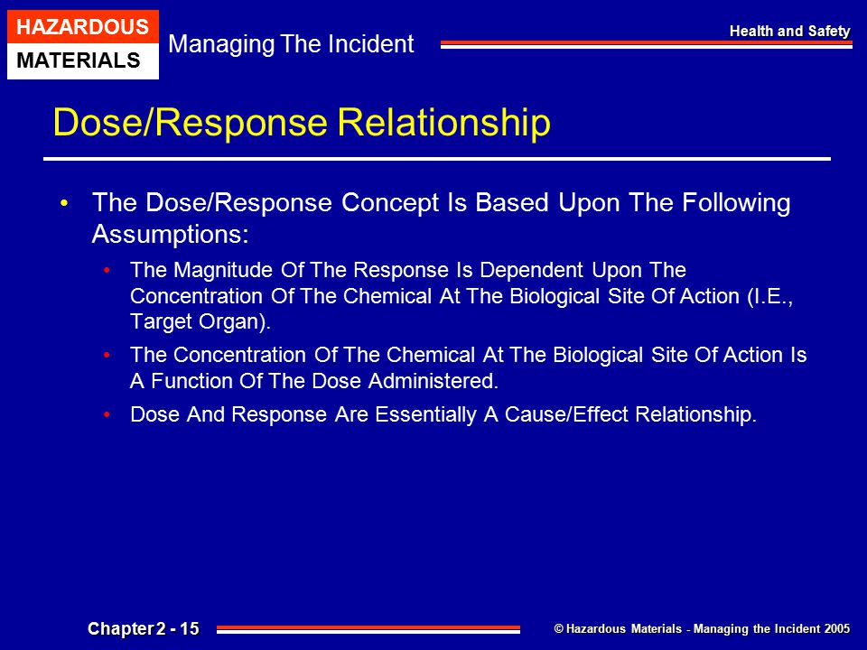 © Hazardous Materials - Managing the Incident 2005 Managing The Incident HAZARDOUS MATERIALS Chapter 2 - 15 Health and Safety Dose/Response Relationsh