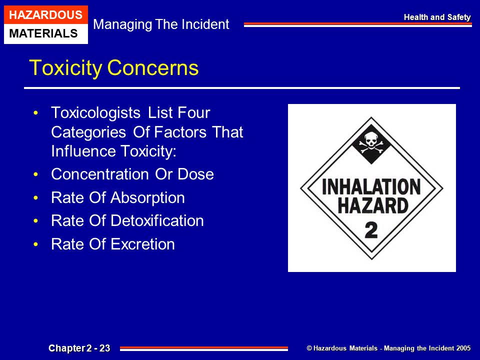 © Hazardous Materials - Managing the Incident 2005 Managing The Incident HAZARDOUS MATERIALS Chapter 2 - 23 Health and Safety Toxicity Concerns Toxico