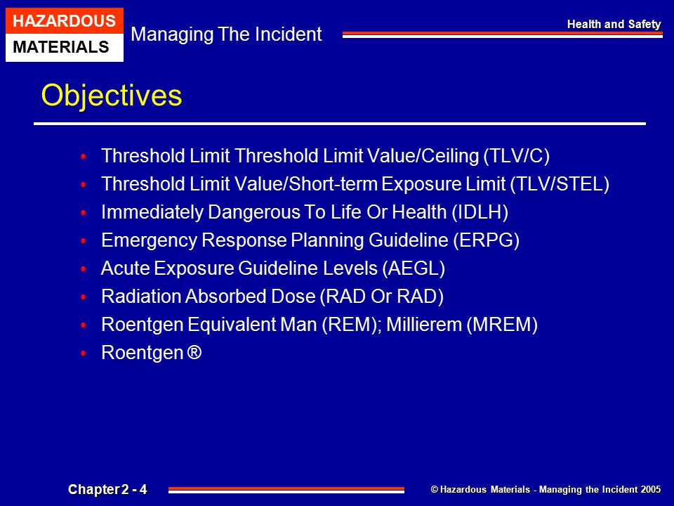 © Hazardous Materials - Managing the Incident 2005 Managing The Incident HAZARDOUS MATERIALS Chapter 2 - 4 Health and Safety Objectives Threshold Limi