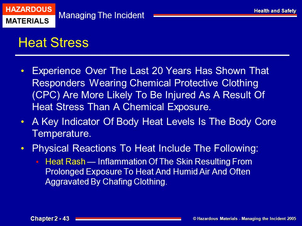 © Hazardous Materials - Managing the Incident 2005 Managing The Incident HAZARDOUS MATERIALS Chapter 2 - 43 Health and Safety Heat Stress Experience O