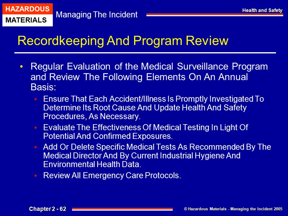 © Hazardous Materials - Managing the Incident 2005 Managing The Incident HAZARDOUS MATERIALS Chapter 2 - 62 Health and Safety Recordkeeping And Progra