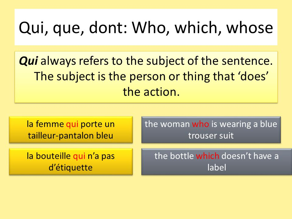 Qui, que, dont: Who, which, whose Qui always refers to the subject of the sentence.