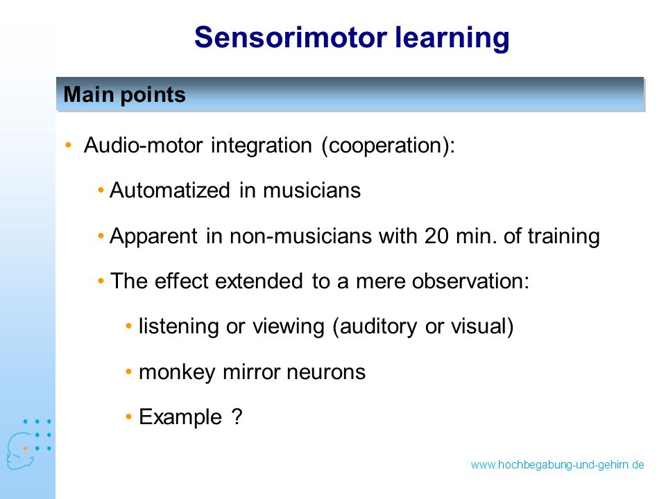 www.hochbegabung-und-gehirn.de Main points Sensorimotor learning Audio-motor integration (cooperation): Automatized in musicians Apparent in non-musicians with 20 min.
