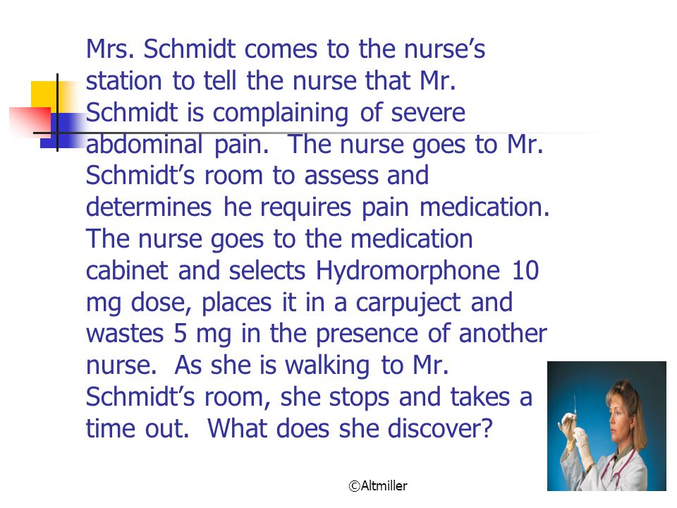 ©Altmiller Mrs.Schmidt comes to the nurse's station to tell the nurse that Mr.