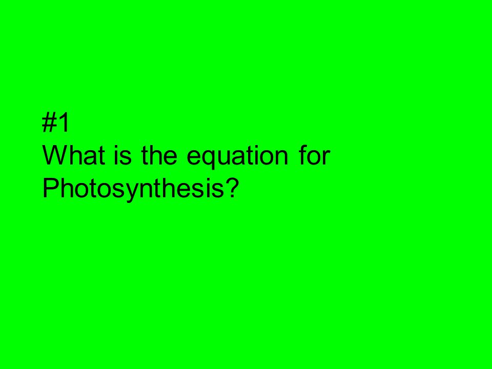 #1 What is the equation for Photosynthesis?