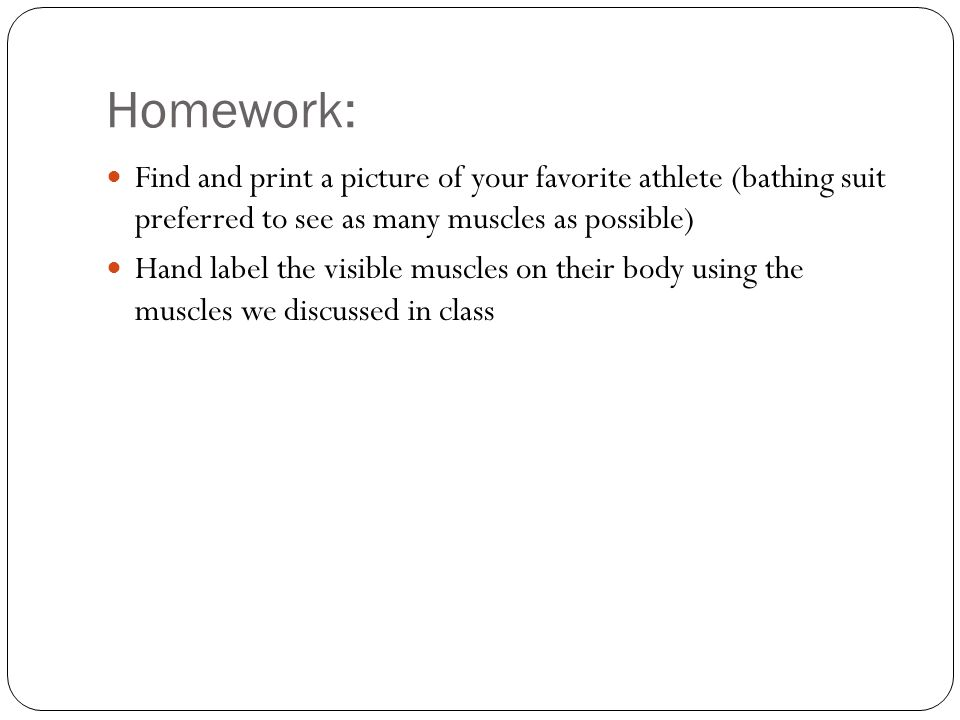Homework: Find and print a picture of your favorite athlete (bathing suit preferred to see as many muscles as possible) Hand label the visible muscles