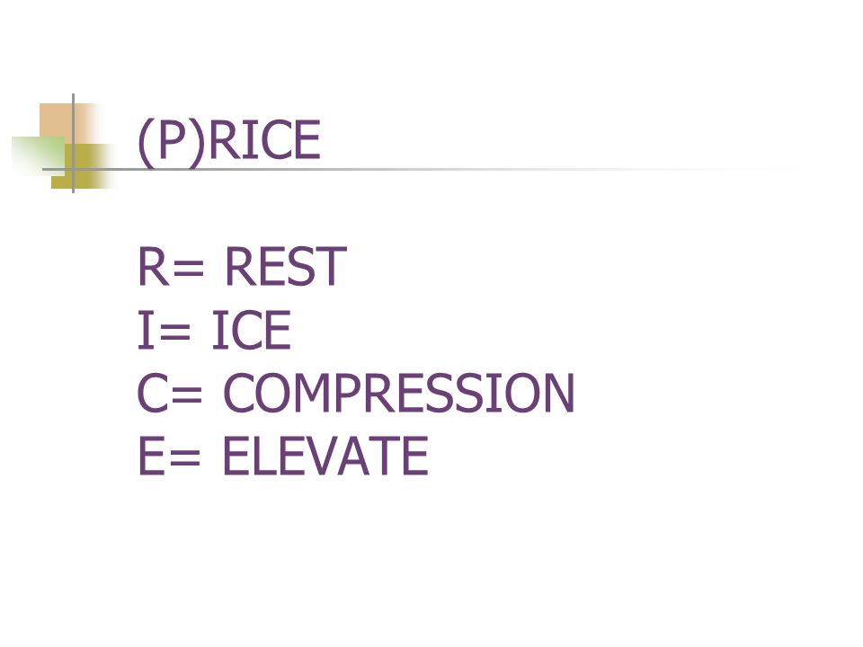 (P)RICE R= REST I= ICE C= COMPRESSION E= ELEVATE
