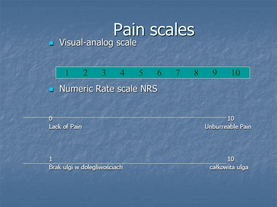 Pain scales Visual-analog scale Visual-analog scale Numeric Rate scale NRS Numeric Rate scale NRS 0 10 Lack of Pain Unburreable Pain 1 10 Brak ulgi w dolegliwościach całkowita ulga 1 2 3 4 5 6 7 8 9 10