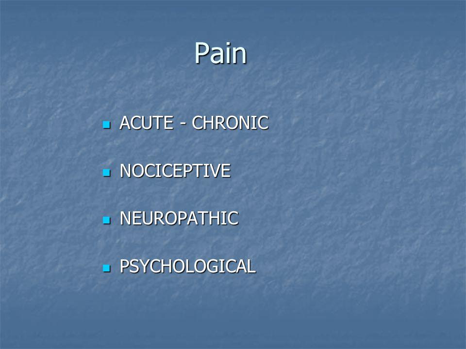 Pain ACUTE - CHRONIC ACUTE - CHRONIC NOCICEPTIVE NOCICEPTIVE NEUROPATHIC NEUROPATHIC PSYCHOLOGICAL PSYCHOLOGICAL