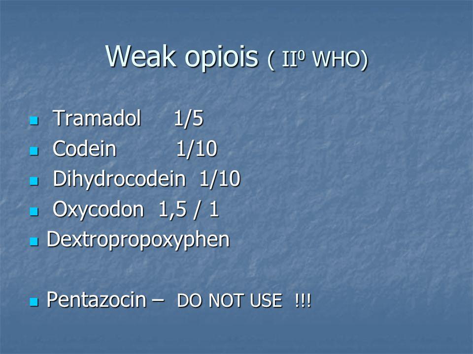 Weak opiois ( II 0 WHO) Tramadol 1/5 Tramadol 1/5 Codein 1/10 Codein 1/10 Dihydrocodein 1/10 Dihydrocodein 1/10 Oxycodon 1,5 / 1 Oxycodon 1,5 / 1 Dextropropoxyphen Dextropropoxyphen Pentazocin – DO NOT USE !!.
