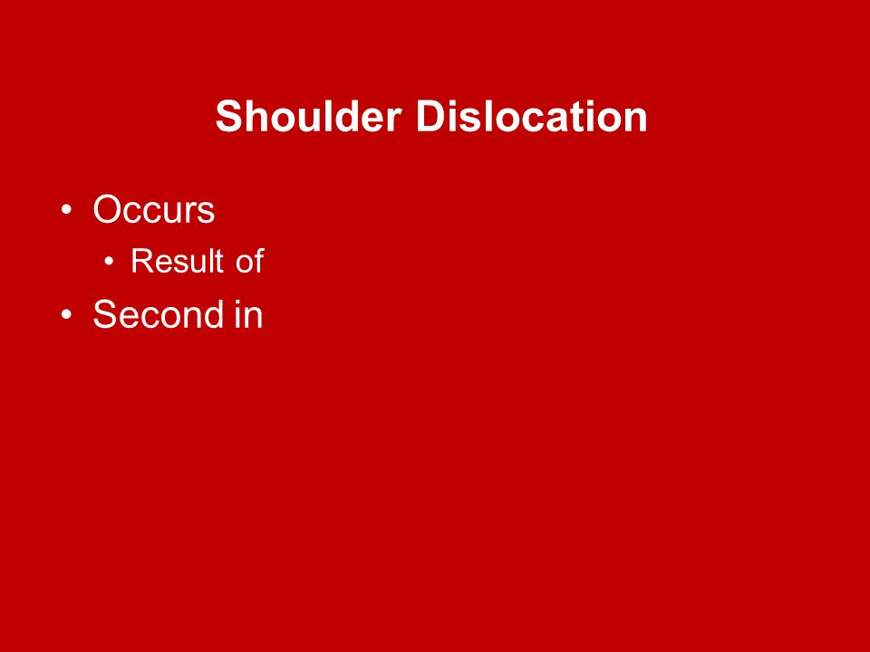 Shoulder Dislocation Occurs Result of Second in