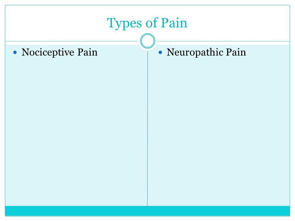 Nociceptive Pain Neuropathic Pain