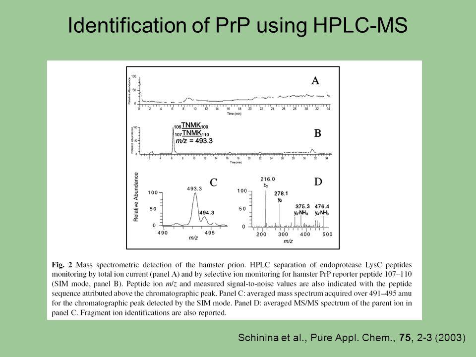 Identification of PrP using HPLC-MS Schinina et al., Pure Appl. Chem., 75, 2-3 (2003)