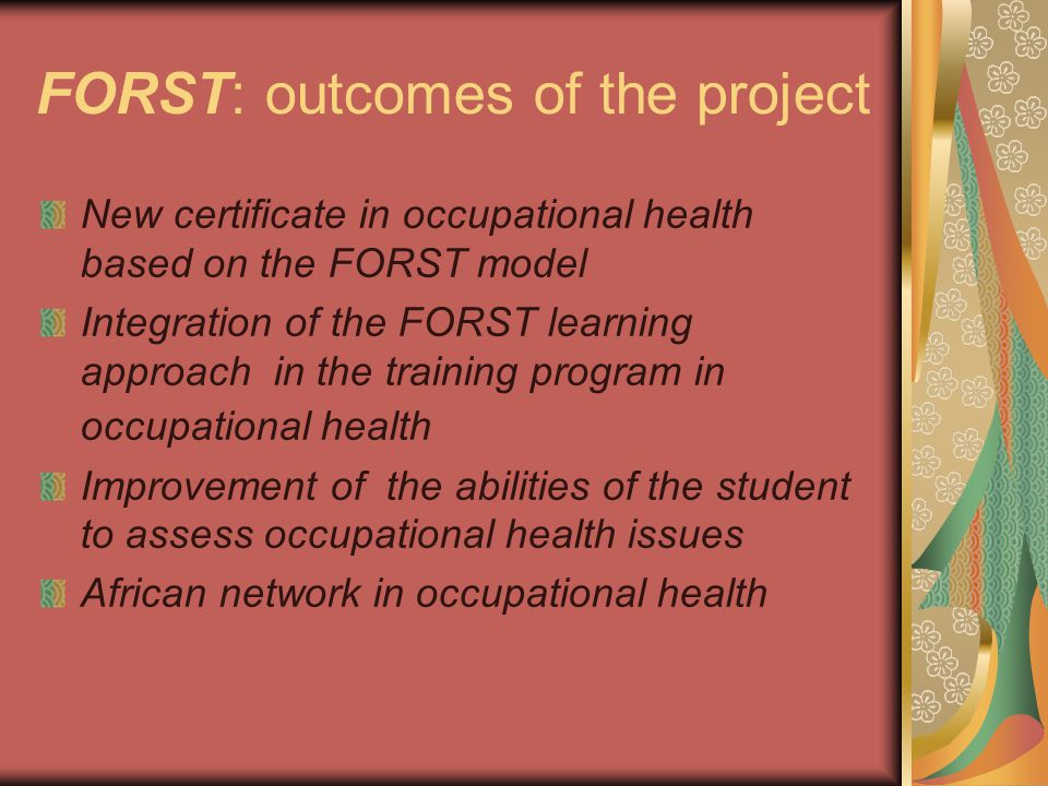 FORST: outcomes of the project New certificate in occupational health based on the FORST model Integration of the FORST learning approach in the train