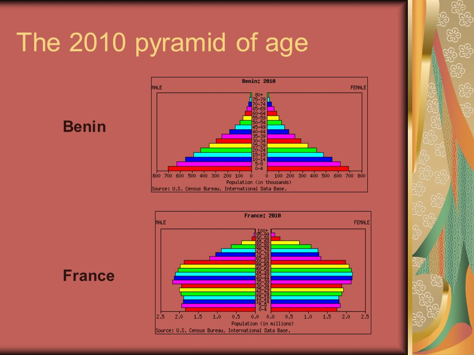 The 2010 pyramid of age Benin France