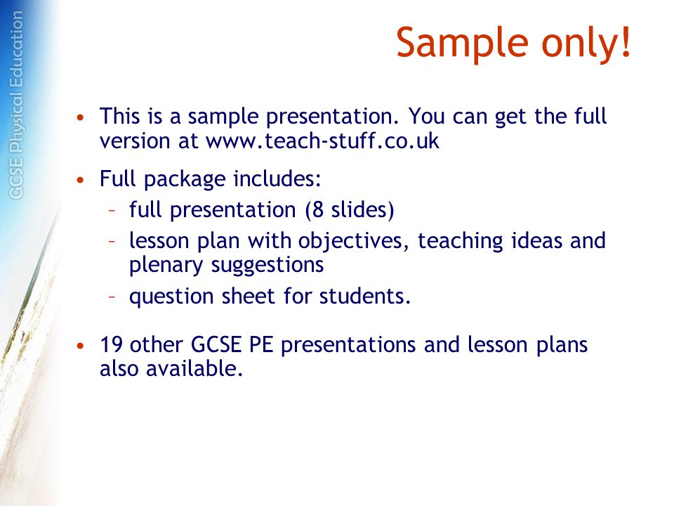 Sample only. This is a sample presentation.