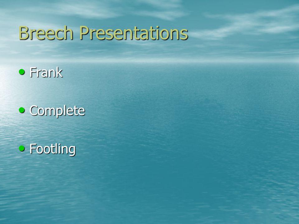 Breech Presentations Frank Frank Complete Complete Footling Footling