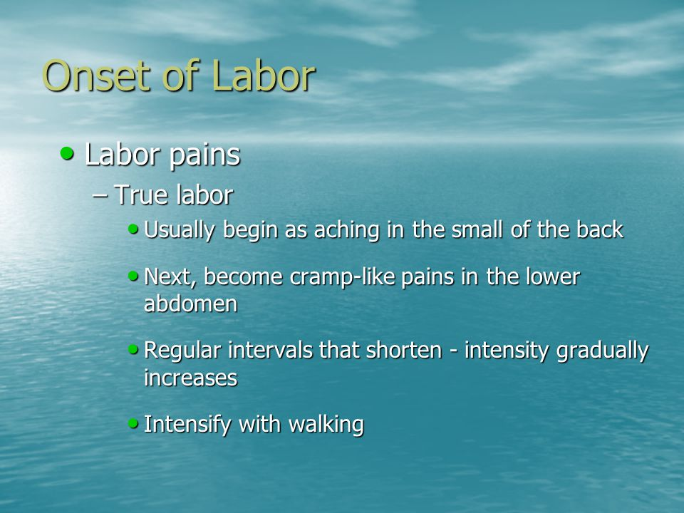 Onset of Labor Labor pains Labor pains –True labor Usually begin as aching in the small of the back Usually begin as aching in the small of the back Next, become cramp-like pains in the lower abdomen Next, become cramp-like pains in the lower abdomen Regular intervals that shorten - intensity gradually increases Regular intervals that shorten - intensity gradually increases Intensify with walking Intensify with walking