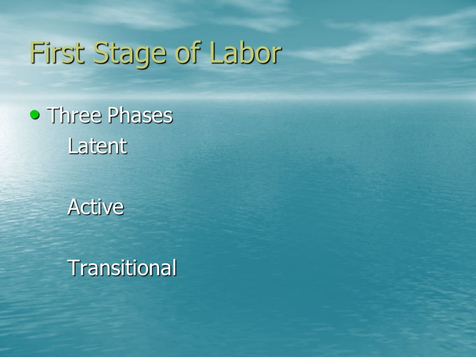 First Stage of Labor Three Phases Three PhasesLatentActiveTransitional