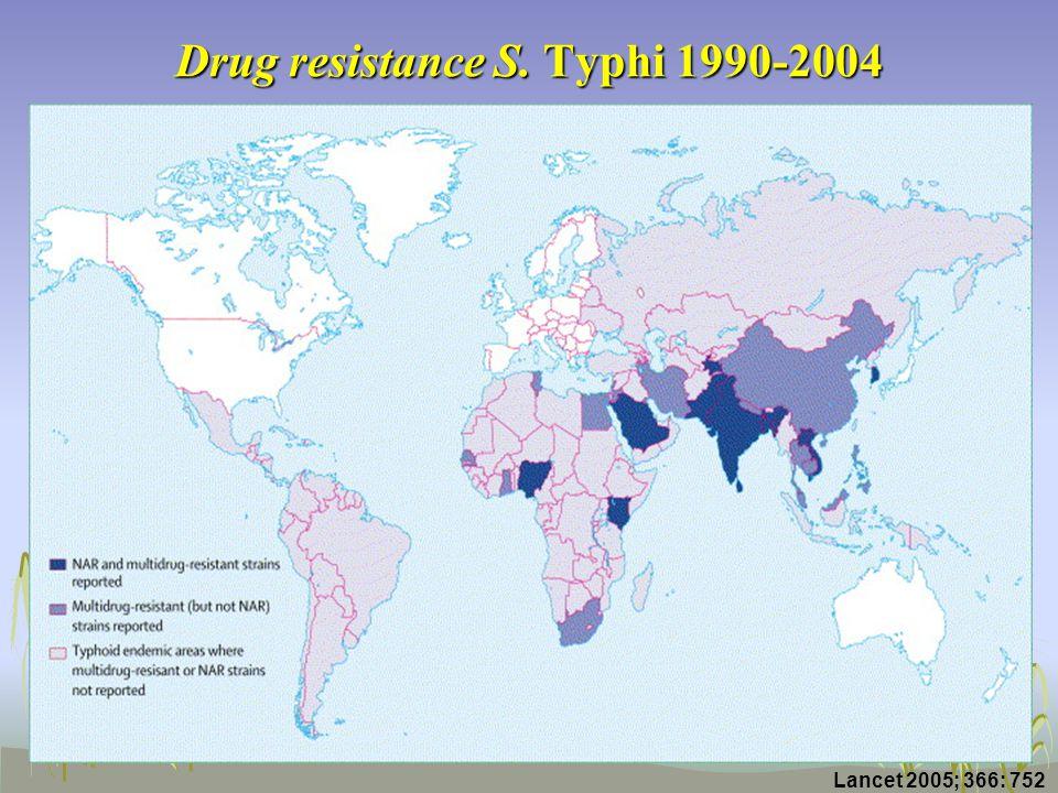 Drug resistance S. Typhi 1990-2004 Lancet 2005; 366: 752