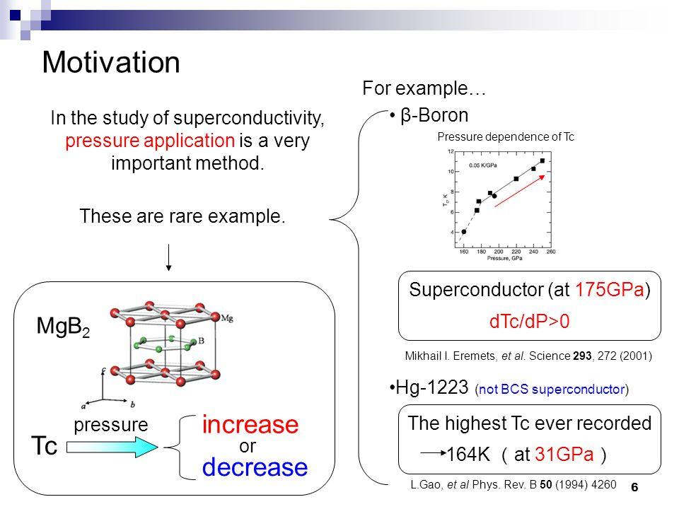 6 Motivation β-Boron Superconductor (at 175GPa) dTc/dP>0 Mikhail I.