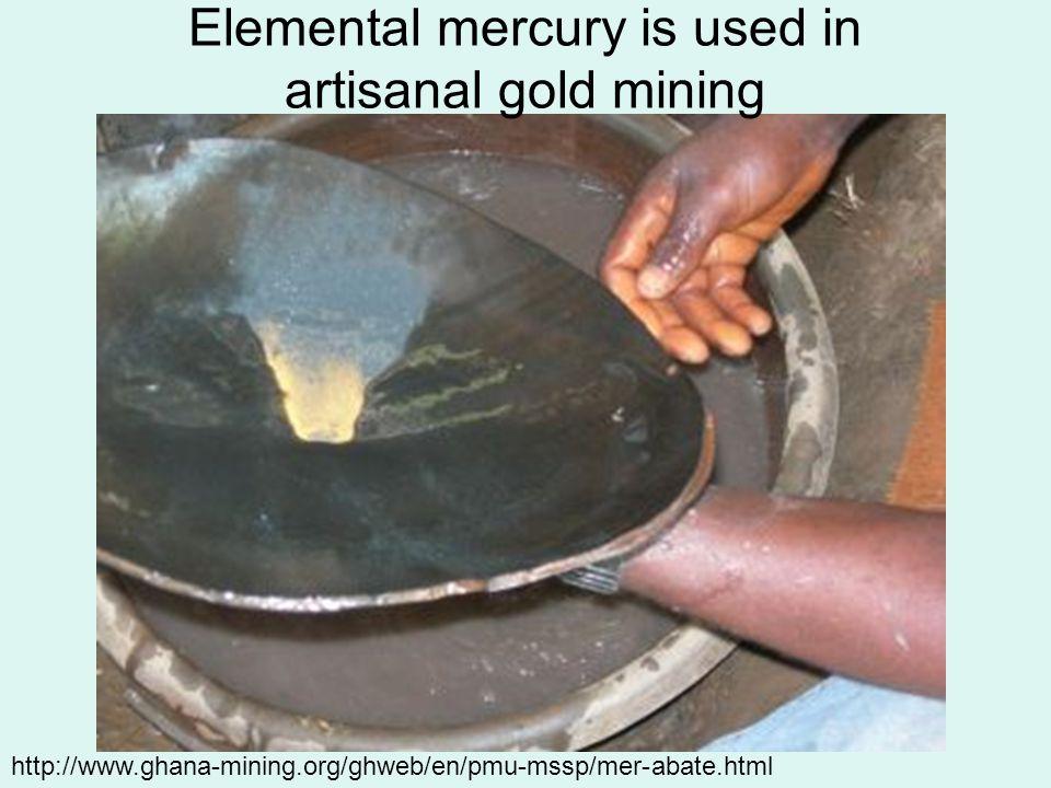 http://www.ghana-mining.org/ghweb/en/pmu-mssp/mer-abate.html Elemental mercury is used in artisanal gold mining