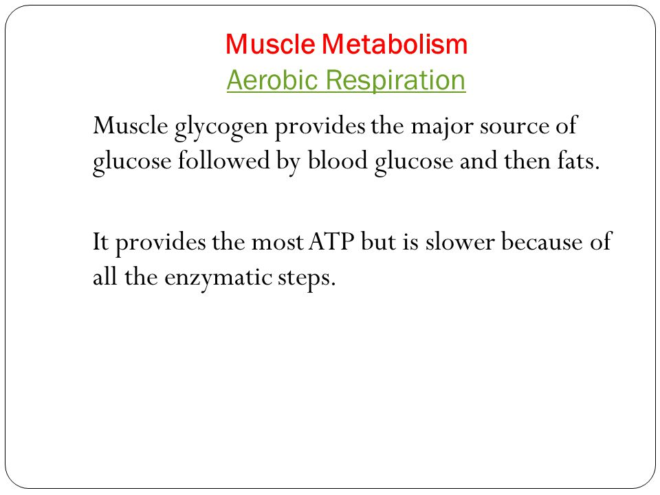 Aerobic Respiration Muscle glycogen provides the major source of glucose followed by blood glucose and then fats. It provides the most ATP but is slow