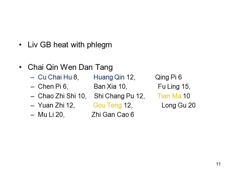 11 Liv GB heat with phlegm Chai Qin Wen Dan Tang –Cu Chai Hu 8, Huang Qin 12, Qing Pi 6 –Chen Pi 6, Ban Xia 10, Fu Ling 15, –Chao Zhi Shi 10, Shi Chang Pu 12, Tian Ma 10 –Yuan Zhi 12, Gou Teng 12, Long Gu 20 –Mu Li 20, Zhi Gan Cao 6