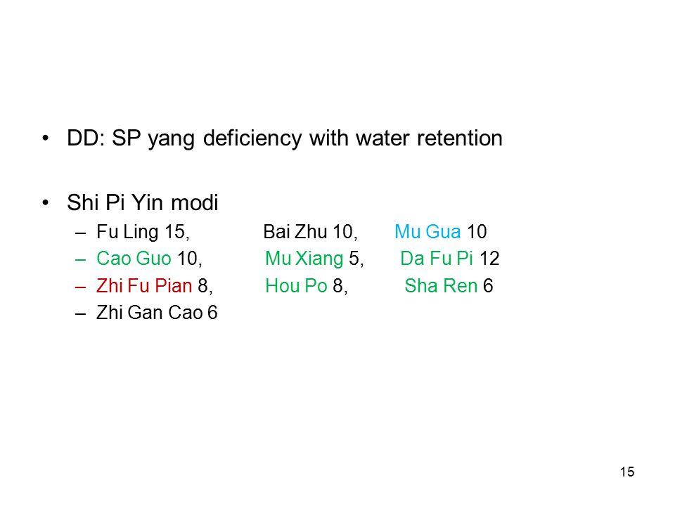 15 DD: SP yang deficiency with water retention Shi Pi Yin modi –Fu Ling 15, Bai Zhu 10, Mu Gua 10 –Cao Guo 10, Mu Xiang 5, Da Fu Pi 12 –Zhi Fu Pian 8, Hou Po 8, Sha Ren 6 –Zhi Gan Cao 6