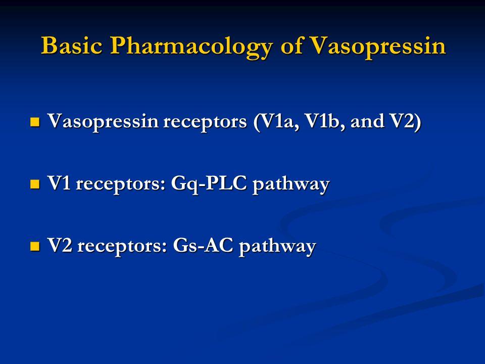 Basic Pharmacology of Vasopressin Vasopressin receptors (V1a, V1b, and V2) Vasopressin receptors (V1a, V1b, and V2) V1 receptors: Gq-PLC pathway V1 receptors: Gq-PLC pathway V2 receptors: Gs-AC pathway V2 receptors: Gs-AC pathway