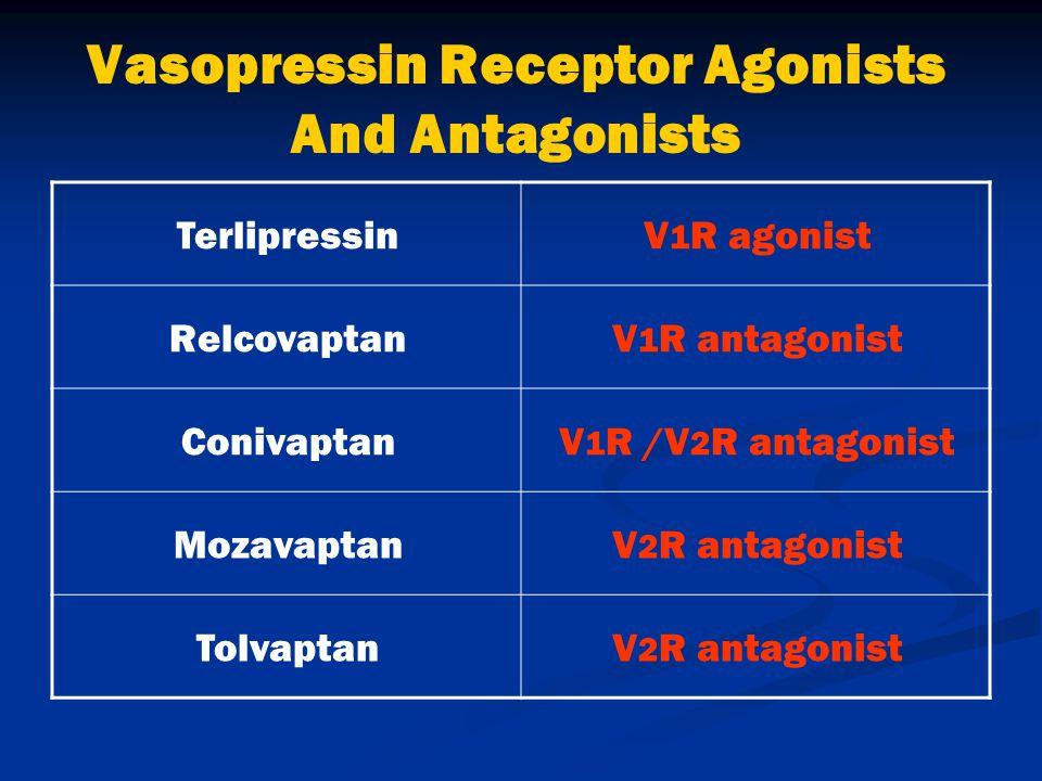Vasopressin Receptor Agonists And Antagonists V 1 R agonistTerlipressin V 1 R antagonistRelcovaptan V 1 R /V 2 R antagonistConivaptan V 2 R antagonistMozavaptan V 2 R antagonistTolvaptan