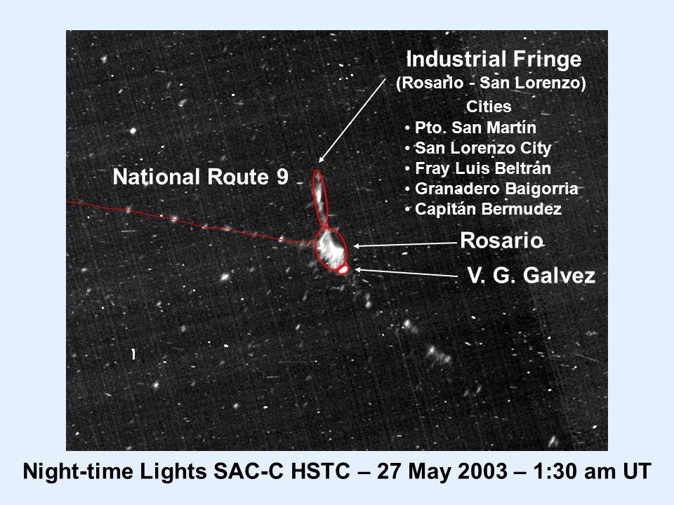 Rosario Night-time Lights SAC-C HSTC – 27 May 2003 – 1:30 am UT National Route 9 Industrial Fringe (Rosario - San Lorenzo) Pto.